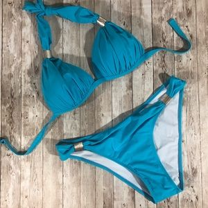 Other - Turquoise Bikini Padded Cup Silver embellishments
